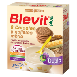 BLEVIT PLUS DUPLO 8 CEREALES Y GALLETA MARIA 600 G.